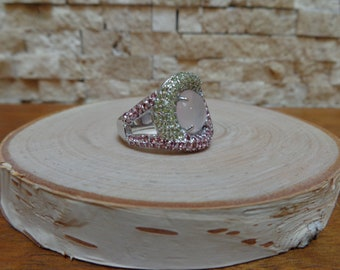 Rhodolite Garnet, Peridot and Rose Quartz ring in Sterling Silver, Size 8
