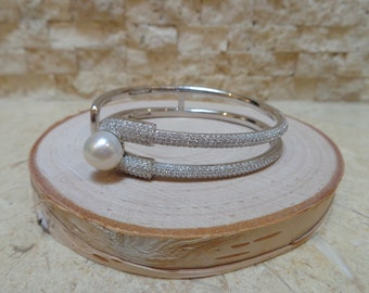 Hinged Sterling Silver and 10mm pearl cuff bracelet with pave cz