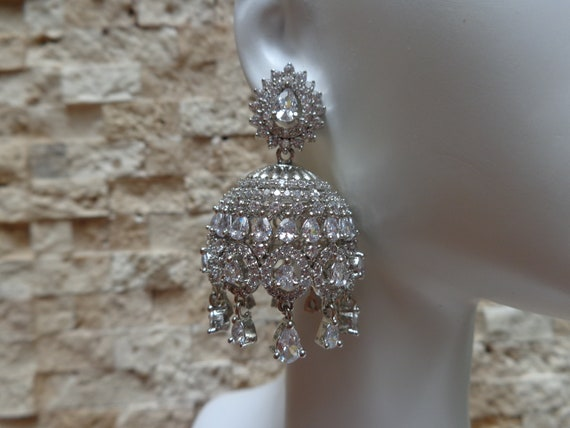 Dressy Silver and CZ Chandelier Earrings