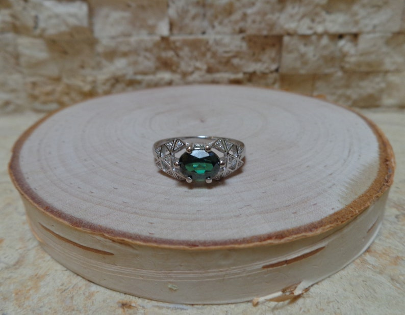 Size 7 Green Topaz ring in 14K White Gold over Sterling Silver