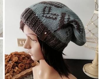 Knit slouchy beanie with fair isle designs. Wool knit hat. Winter wool beanie, Unisex plush beanie