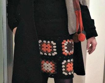 Crochet Granny square skirt, made to order boho chic in merino wool, woman knitwear, Heavy winter wool miniskirt, custom made knit dress.