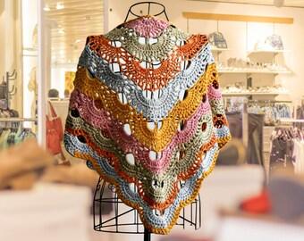 Cotton crochet shawl, Virus multicolor triangle scarf, heavy kerchief shawl, summer handmade bandana, baktus, Valentine gift idea gay vegan
