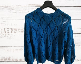 Knitted pullover in cotton. Openwork ajour knit sweater with long sleeves. Made to order summer knitwear