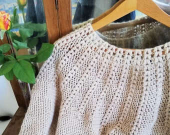 Top down crochet sweater in alpaca 100%, elegant crochet jumper with round neck, made to order light sweater