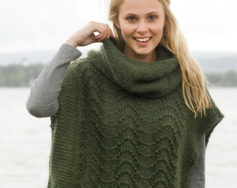 alpaca and silk knit mantle, Knitted poncho custom made, knit cowl, boho chunky knit vest, romantic knitted cape, gift for her