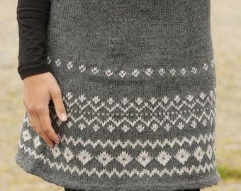 Knitted fair isle skirt, knit alpaca skirt, made to order miniskirt, woman knitwear, Heavy winter alpaca skirt, custom made knit dress.
