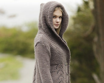 Hooded long cardigan, hooded overcoat in wool, wool cloack, heavy knitted coat. Custom made gift for her. Winter hooded jacket, hooded coat