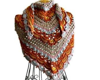 Multicolor cotton crochet shawl ready to ship, lost in time kerchief shawl, Precious gift