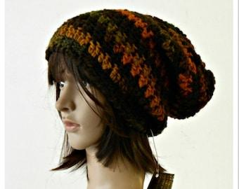 Crochet slouchy beanie rasta style, chunky crochet hat, wool slouchy hat, Boho chunky crochet beanie, woman crochet hat, slouchy beret, gift