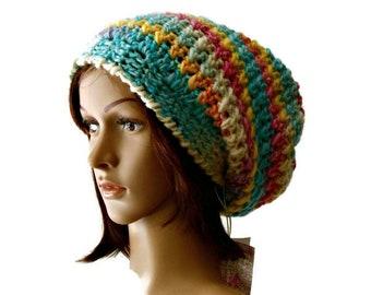 28b68b1269d Boho chunky crochet beanie crocheted beret block color woman