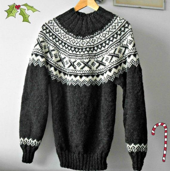 nuovo prodotto eafc1 69ba4 Maglione uomo jacquard lavorato ai ferri, maglia in stile norvegese fatto a  mano su ordinazione. Pullover fair isle, regalo per lui