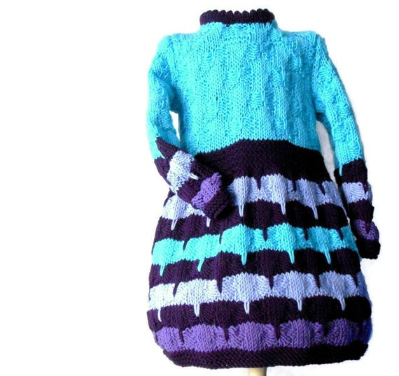 knit dress for baby girls, sweater dress in merino wool, acqua turquoise baby knitted dress, children fashion cozy winter knit
