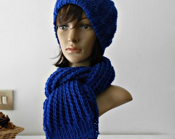 Long Scarf and hipster beanie set, Chunky knit scarf, knit plain scarf and beanie, snood wool scarf plus hat, mother's day gift set for her