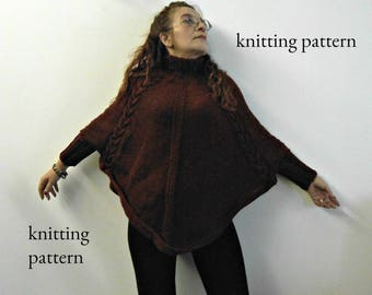 knit sleeved poncho pattern, wool poncho tutorial, cable knit poncho, DIY sleeved mantle, wool wrap tutorial, How to poncho,