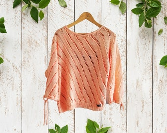 Knitted spring pullover in cotton. Openwork ajour knit sweater with adjustable sleeves. Made to order summer knitwear