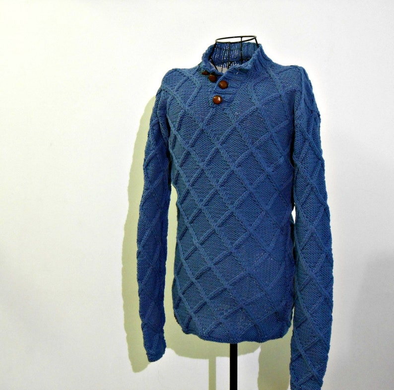 a1d59120cf0 Made to order Aran knit Sweater in Pure Merino wool, Henley style collar,  cozy winter knitted jumer, cable stitch button- up sweater