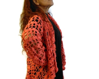 Cotton summer jacket, crochet jacket, cardigan in cotton lace effect, openwork jacket, crochet bolero, elegant cardigan, ready to ship gift