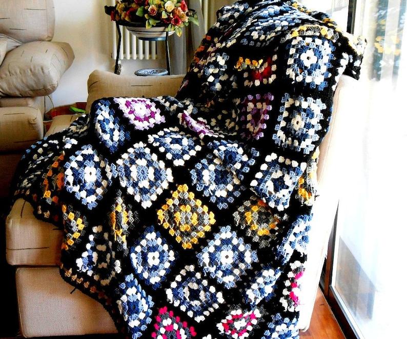 crochet blanket to order Merino wool Granny square afghan image 0