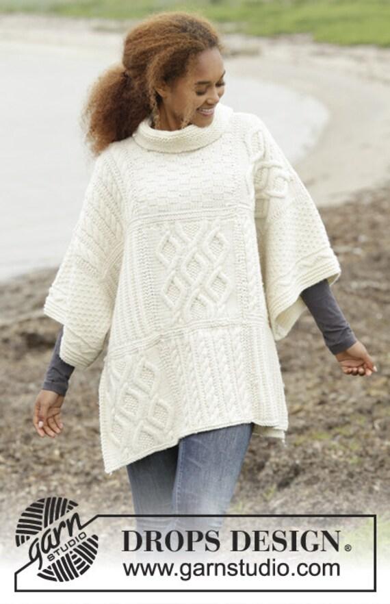 Aran style poncho custom made alpaca knit mantle soft knit | Etsy