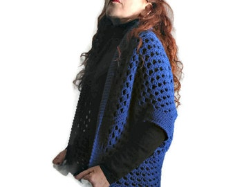 Crochet cocoon cardigan, wool crochet mantle, cocoon jacket, OOAK shoulderwarmer, wool crochet wrap, electric blue cardigan, crochet poncho
