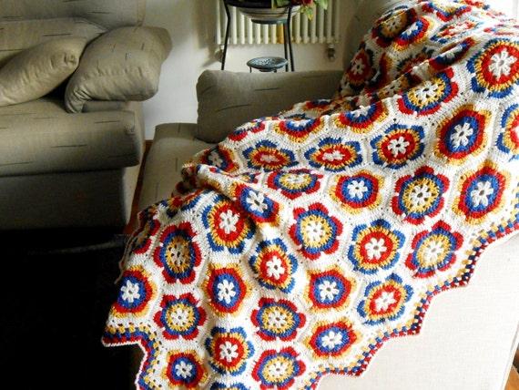 Handarbeit Häkeln Hexagon Decke Decke Stäbchen Merino Wolle Etsy