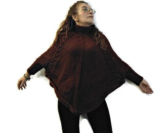 Sleeved knit poncho, heavy wool poncho, chunky knit cape, sporty wrap, wool knit mantle, sweater poncho, ready to ship, mother's day gift