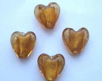 15mm foil glass heart beads amber gold x 4 FBH013