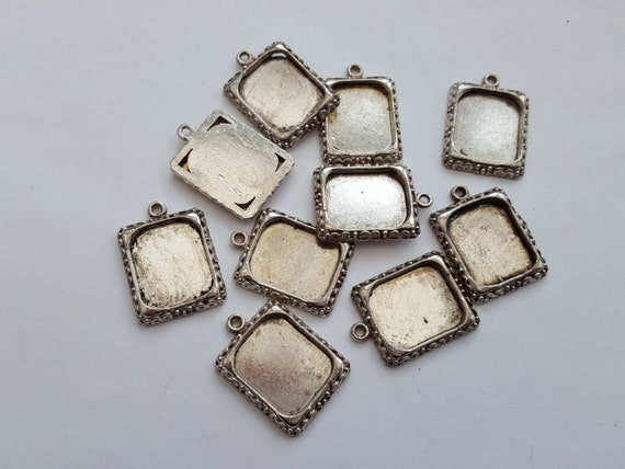 Photo frame setting pendant antique silver 18x25mm 10pc bezel | Etsy