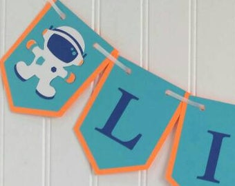 Personalized Outer Space Astronaut Banner/ Outer Space Party Banner/ Solar System Decorations/ Astronaut Party Decor/ Space Party Decor