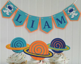 Outer Space Planet Cupcake Toppers Set of 12