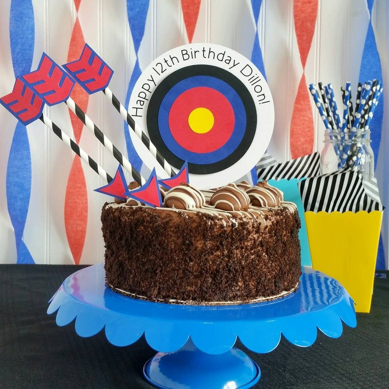 Archery Birthday Party Cake Topper Target