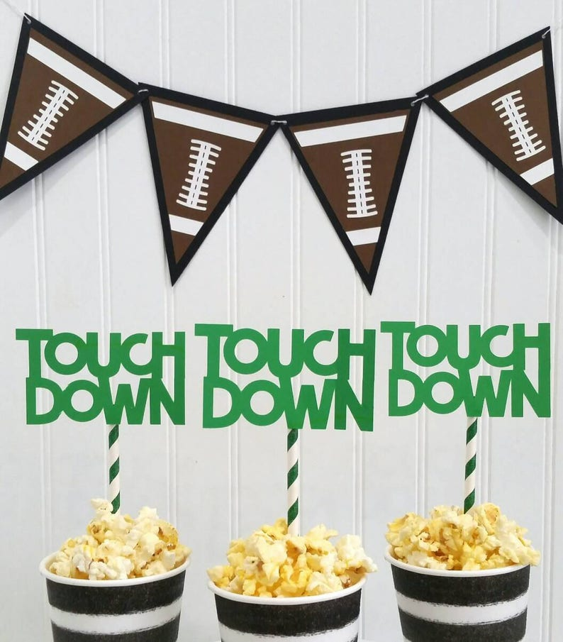 Sensational Football Party Treat Toppers Football Party Food Buffet Decorations Football Desert Table Decor Football Party Decorations Download Free Architecture Designs Terstmadebymaigaardcom