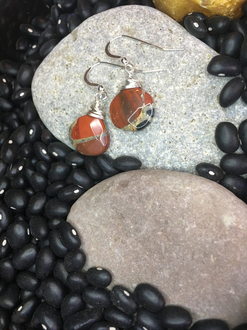 Chalcedony and Red Jasper Faceted Teardrop and Sterling image 0