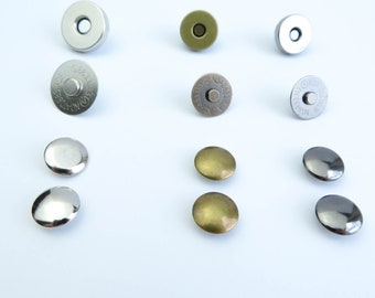 Double Rivet Magnetic Snaps Antique Brass Nickel 18 mm 14 mm Bag Closures Purse Fasteners Clasps Metal Buttons Closure Stud For Leathercraft