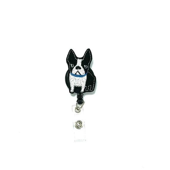 French Bulldog Dog Breed Heart Lanyard Retractable Reel Badge ID Card Holder