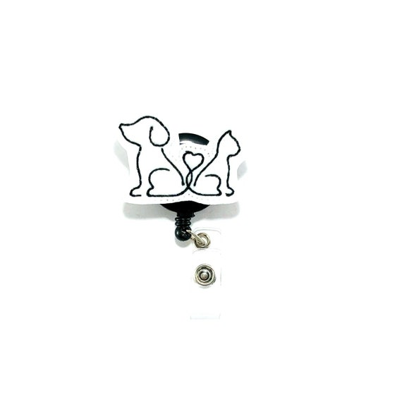 I love my YORKSHIRE TERRIER dog paw prints ~ Retractable Reel ID Badge Holder