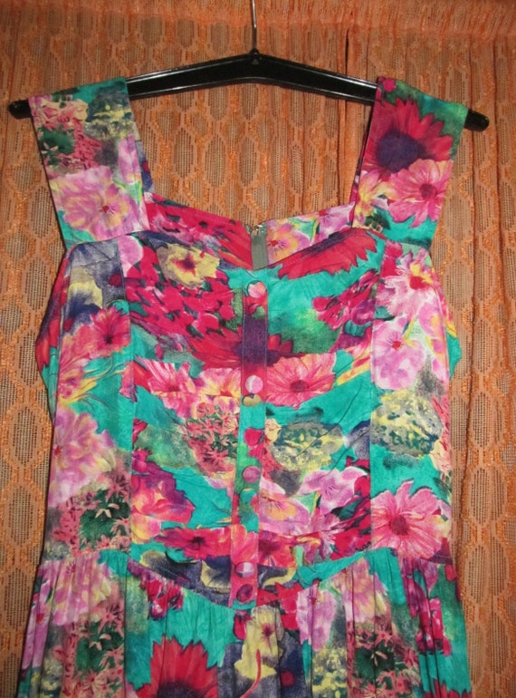 Green Women L Vintage S Party Red Colorful Day DRESS Retro Gift Flower Pink SUN Yellow Summer Sleeveless FLORAL Clothing Garden Print RqBfYWZFW