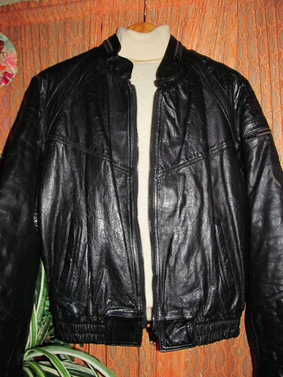 Jacket Vintage Outerwear Lined GENUINE Coat Clothing Leisure Fashion L Biker Men's Rocker Casual Retro LEATHER 70s BOMBER Zipper Black wq0ITX0