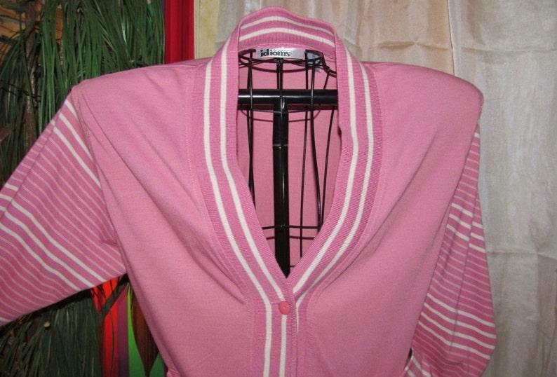 VintageCARDIGANStripedKNITJACKET Mod50s StylePinkSalmonWhite PreppyV-NeckMad MenRockabilly CasualRetroWomenTeenClothing