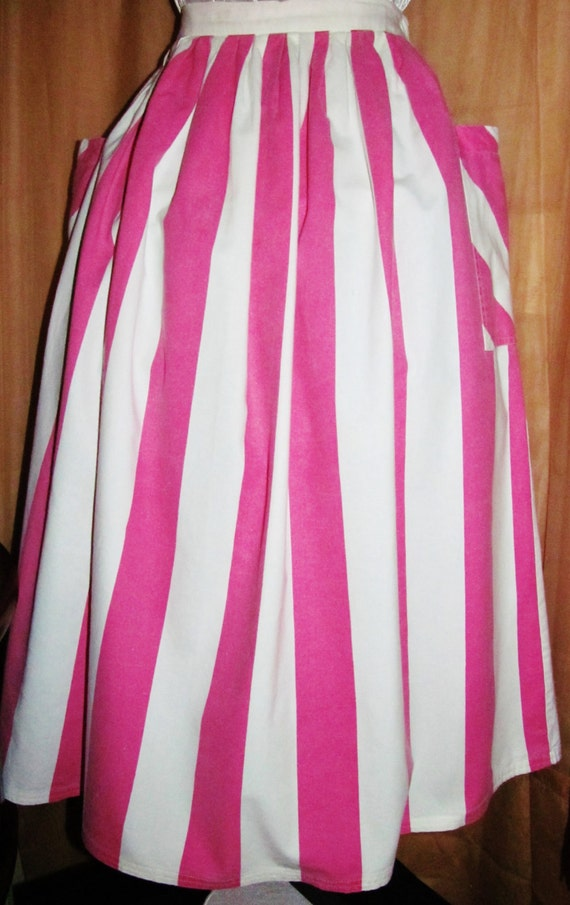 Retro Gathered Style Woman White Long Preppy Gift Full STRIPED 60's SKIRT Fashion Ladies Clothing Pink Cotton Teen XS Vintage 50's Midi qPgFxTwz