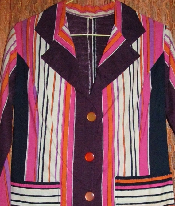 JACKET Pink White Clothing Gift Tailored Blue Small 60s Vintage Top Maroon Purple Nautical Outerwear Women Retro BLAZER Cotton Striped MOD 0SWWaqFpI