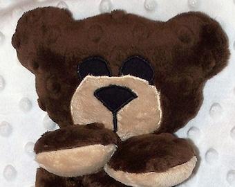 Hand-crafted Teddy Bear Woobie - Minky Security Blanket (Brown & Tan)