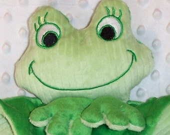 Hand-crafted Frog Woobie - Minky Security Blanket