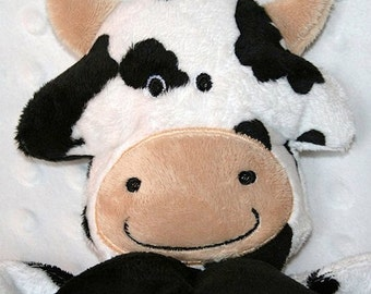 Hand-crafted Cow Woobie - Minky Security Blanket