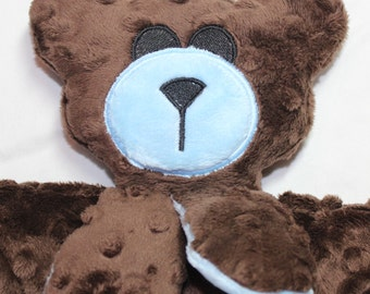 Hand-crafted Teddy Bear Woobie - Minky Security Blanket (Brown & Blue)