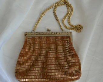 Sale: Vintage Amber Beaded Clutch Purse, Evening Bag