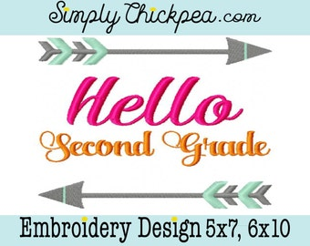 Embroidery Design - Hello Second Grade - Back to School Shirt Design - Tribal Arrows - 2nd Grade - For 5x7 and 6x10 Hoops