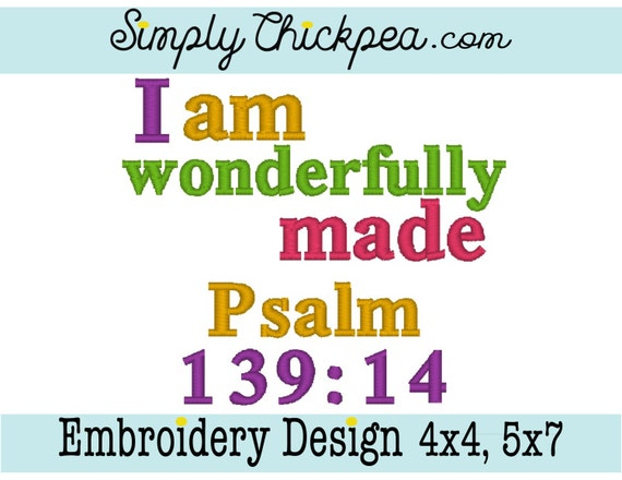 Embroidery Design I Am Wonderfully Made Psalm 139 14 Bible