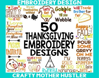 Thanksgiving Bundle Embroidery Designs, Includes Applique, Perfect for Shirts Bodysuits and More, For 4x4 and 5x7 Hoops, Embroidery Sale